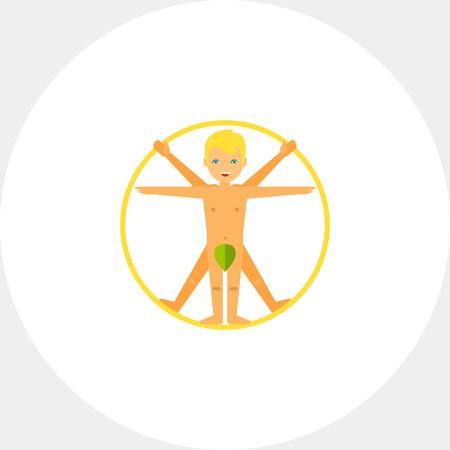 leonardo da vinci: Vitruvian Man Concept Icon Illustration