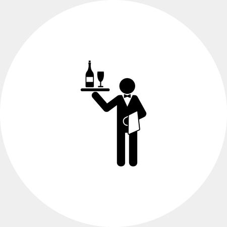 sommelier: Waiter Holding Tray with Wine Icon