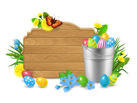 blank tablet: Blank Wooden Tablet, Easter Eggs, Flowers Illustration