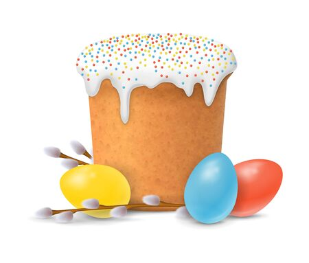 paskha: Easter cake, eggs and willow twigs. Easter design element. For greeting cards, posters, leaflets and brochures.