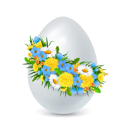 buttercup  decorative: Easter egg decorated with flowers wreath. Easter design element. For greeting cards, posters, leaflets and brochures.