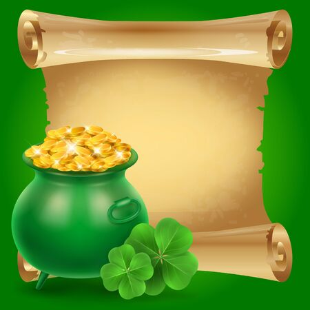 Blank scroll parchment paper with clovers and green money pot on green background. St. Patricks Day, Ireland, holiday. St. Patricks Day concept. Can be used for greeting cards, leaflets, posters Stock Photo