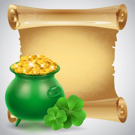 Blank scroll parchment paper with clovers and green cauldron full of golden coins. St. Patricks Day, Ireland, Leprechaun. St. Patricks Day concept. Can be used for greeting cards, leaflets, posters