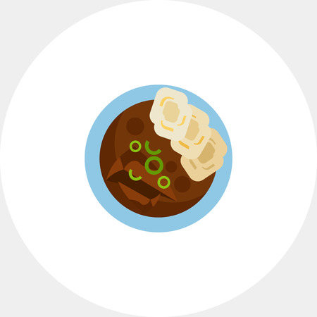 Beef goulash with homemade dumplings icon Ilustracja