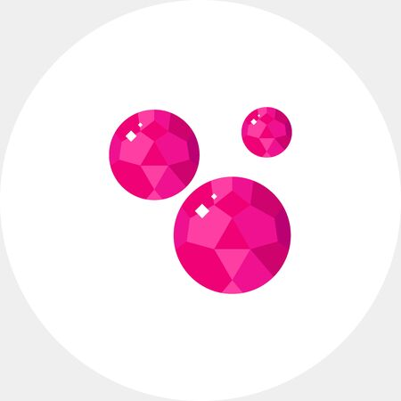Bright pink garnet minerals icon Illustration