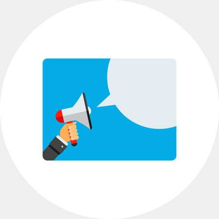 amplification: Hand with Megaphone and Speech Bubble Icon Illustration