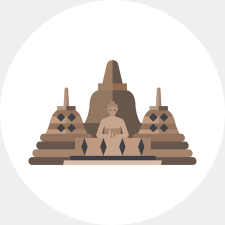 Vector icon of Borobudur. Indonesian landmark, buddhish temple, Indonesian culture. Indonesia concept. Can be used for topics like travel, architecture, religion