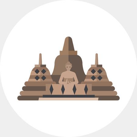 Vector icoon van Borobudur. Indonesische oriëntatiepunt, Boeddhistische tempel, Indonesische cultuur. Indonesië concept. Kan gebruikt worden voor onderwerpen zoals reis, architectuur, religie