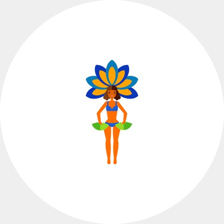 Vector icon of Brazil carnival performer in bikini with fans and plumes. Brazil festival, Rio de Janeiro, Brazilian culture. Brazil concept. Can be used for topics like tourism, festivals, show