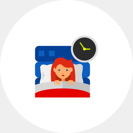 Vrouw in bed als Insomnia concept pictogram