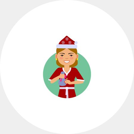 Woman in Santa costume holding small sack Illustration