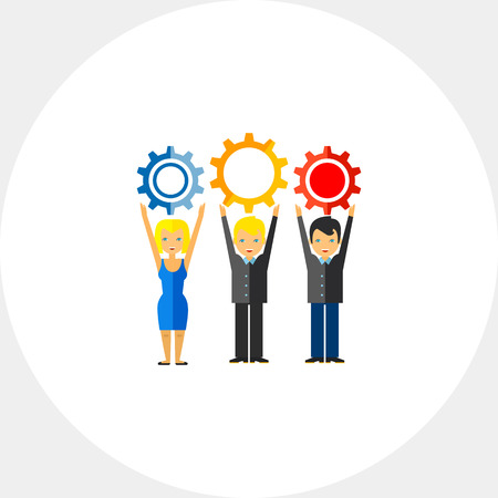 Workforce Concept Icon with Three People Illustration