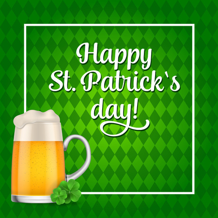 Happy St Patricks Day lettering and beer Illustration