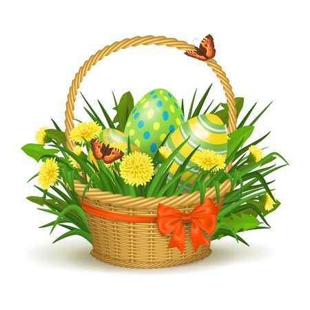 Easter Basket With Eggs and Dandelions