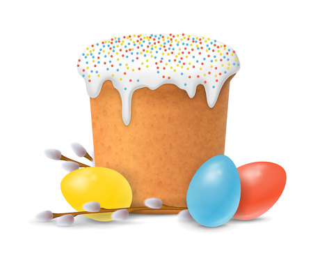 Easter Cake, Eggs and Willow Twigs Illustration