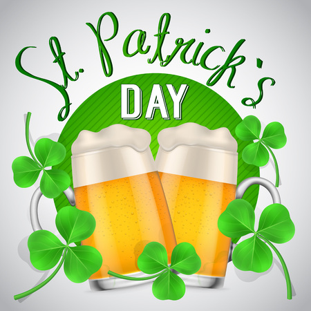 Two beer mugs with clovers on green circle and St Patricks Day lettering. St Patricks Day, Ireland, holiday. St Patricks Day concept. Can be used for greeting cards, leaflets, posters and brochure