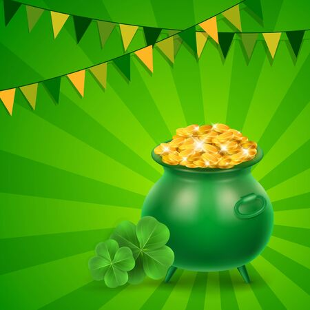 Money pot, clovers and garland on green sunburst background. St Patricks Day, Ireland, holiday. St Patricks Day concept. Can be used for greeting cards, leaflets, posters and brochure