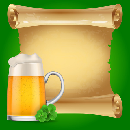 Blank scroll parchment paper with clovers and beer mug on green background. St. Patricks Day, Ireland, holiday. St. Patricks Day concept. Can be used for greeting cards, leaflets, posters and brochure Illustration