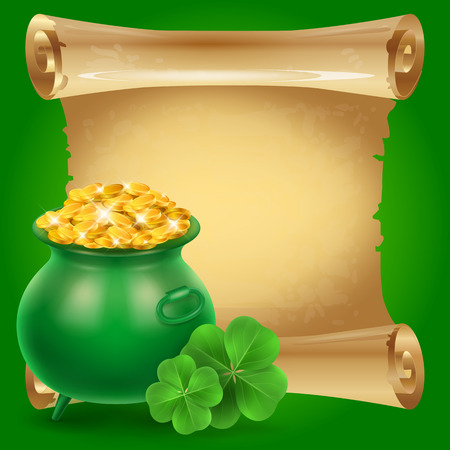 Blank scroll parchment paper with clovers and green money pot on green background. St. Patricks Day, Ireland, holiday. St. Patricks Day concept. Can be used for greeting cards, leaflets, posters Vettoriali