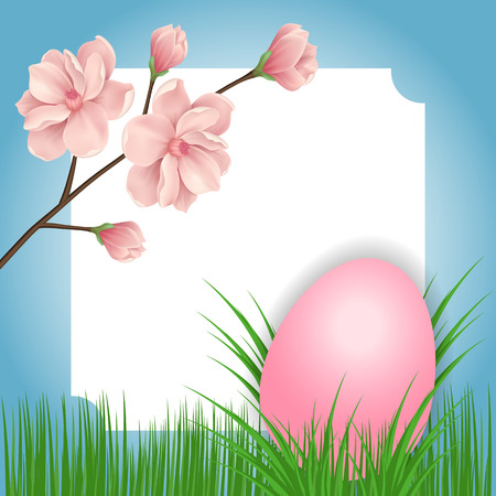 Easter greeting card with frame, egg and blooming tree twig. For greeting cards, posters, leaflets and brochures. Illustration