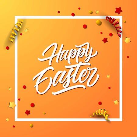 Letras De Pascua Feliz En Marco. Tarjeta De Felicitación De Pascua ...