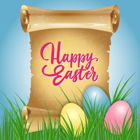 egg roll: Happy Easter Lettering, Scroll and Eggs
