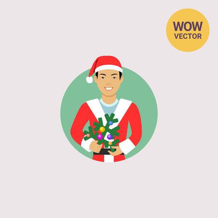 Asian man holding Christmas tree Illustration