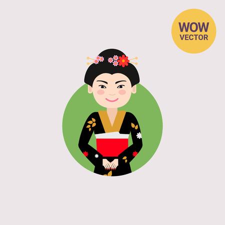 Asian woman in black kimono