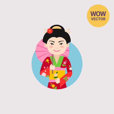 Asian woman with umbrella