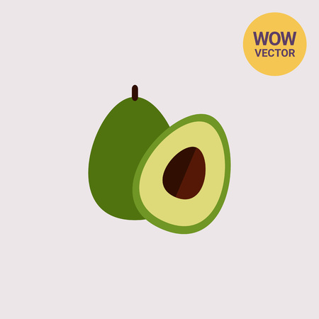 Avocado and cut avocado half Illustration
