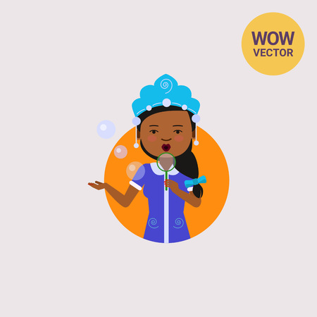 African American woman blowing bubbles Illustration