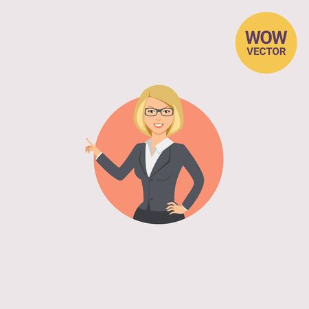 Businesswoman pointing with her finger Illustration