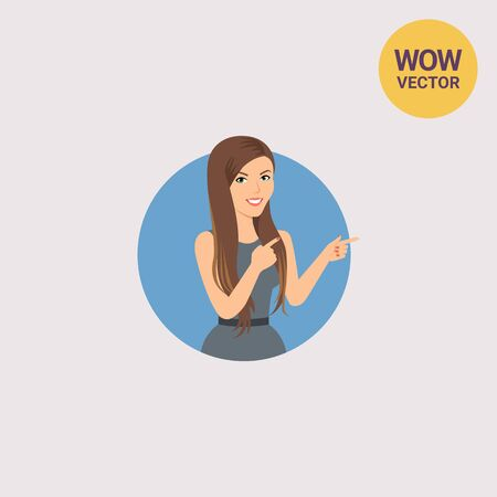 Businesswoman pointing with her fingers Illustration