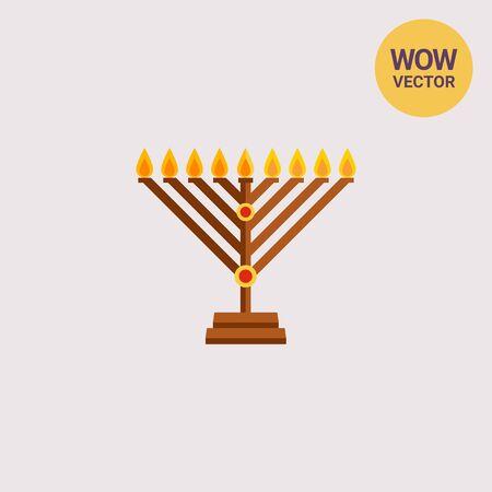 chanukah: Chanukah menorah flat icon