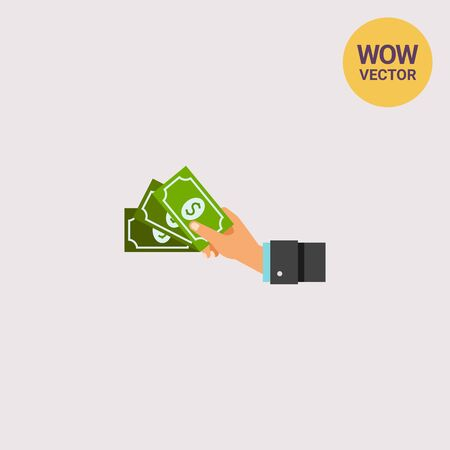 Cash Concept Icon with Dollar Banknotes Illustration