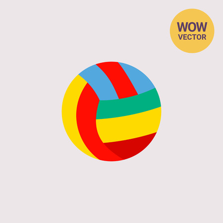 Colorful volleyball ball with red, yellow, blue, green stripes. Game, fun, team. Volleyball concept. Can be used for topics like sport, health, volleyball.