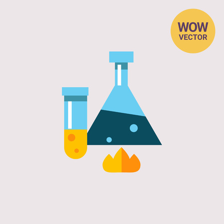 Multicolored vector icon of heating chemical laboratory flask with blue liquid and test tube with yellow liquid