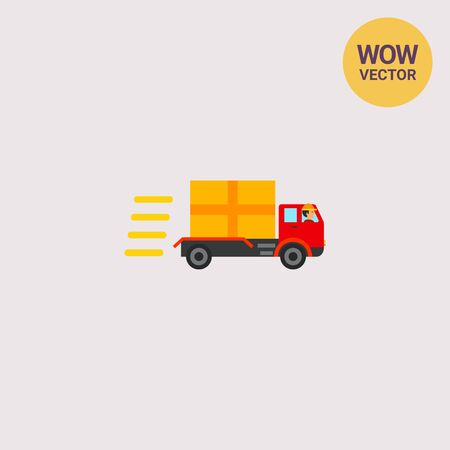 the topics: Truck with package going fast. Driving, speed, freight. Delivery concept. Can be used for topics like transport, logistics, business.