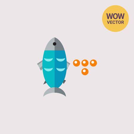 Fish and Caviar Icon Illustration