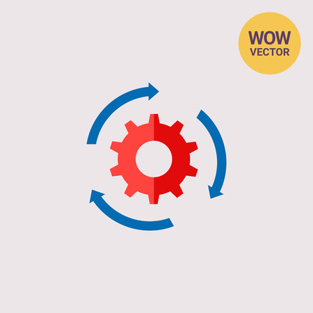 Gear and Arrows as Workflow Concept Icon