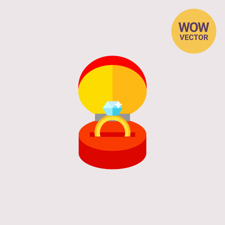 Gold Ring with Gemstone in Box Icon