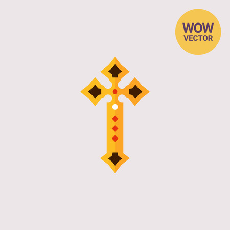 baptizing: Golden cross icon Illustration