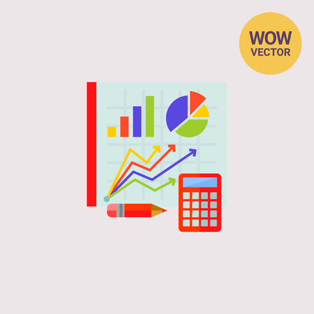 Graphs on Board as Statistics Concept Icon Illustration
