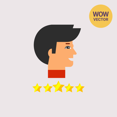 best employee: Head of Star Employee and Stars Icon