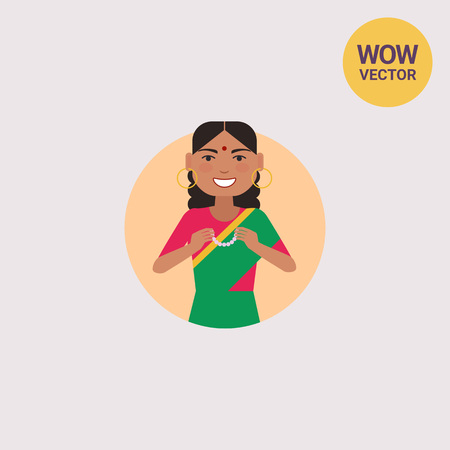 Indian woman holding necklace Illustration