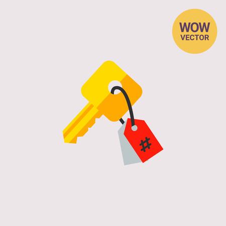 keywording: Key with Tag as Keywording Concept Icon Illustration