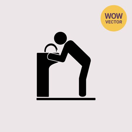 hydrate: Man at Drinking Fountain Icon Illustration