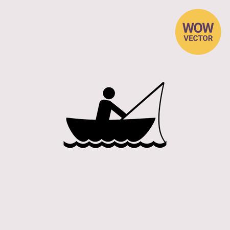 rowboat: Man Fishing in Boat Icon Illustration