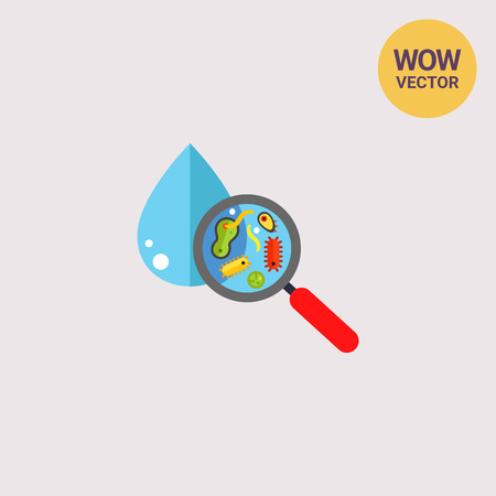 Magnifier with bacteria and virus cells in water drop. Microorganism, pollution, dirty water. Pollution concept. Can be used for topics like pollution, hygiene, bacteria