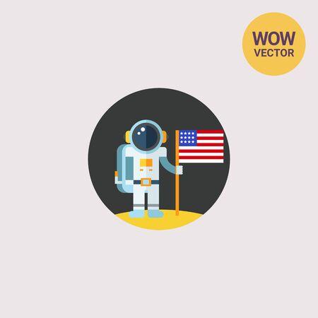 El hombre en la luna que sostiene la bandera EE.UU.. Astronauta, superficie, exploración. concepto de espacio. Puede ser utilizado para temas como la astronomía, la tecnología, la ciencia.